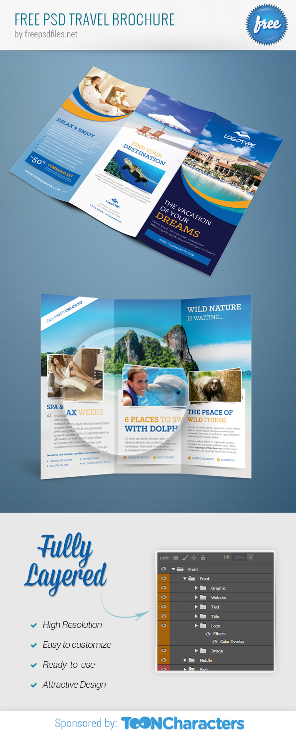 Free template travel brochure for Travel and tourism brochure templates free