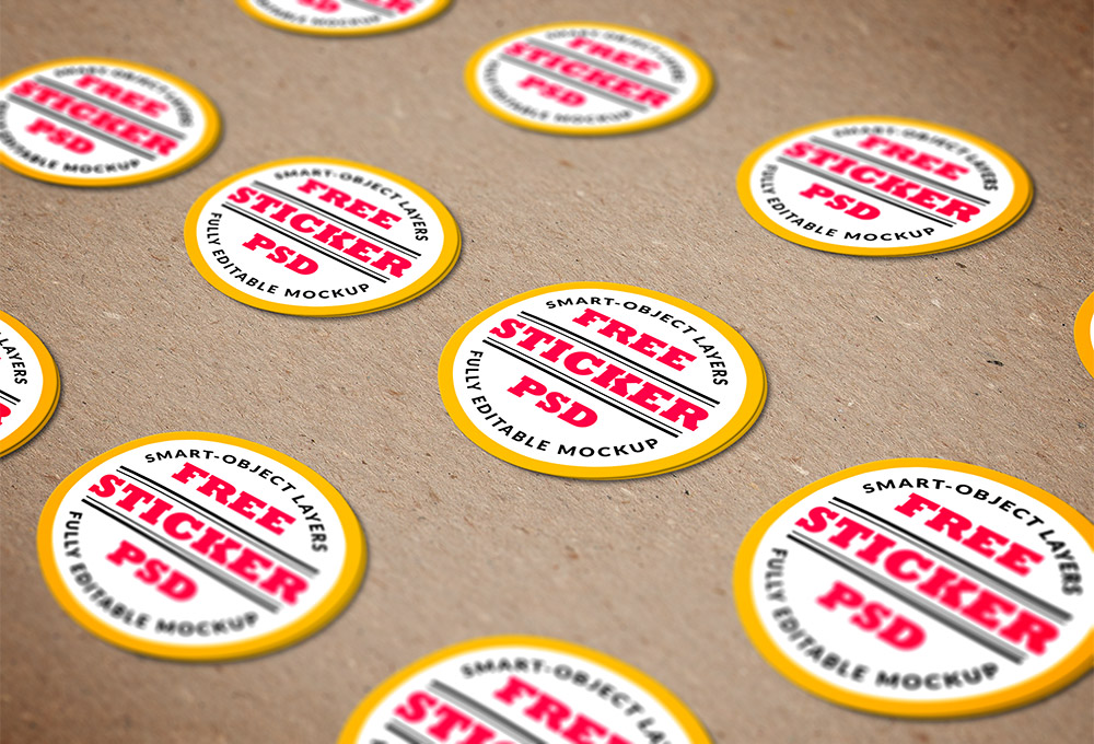 Free Psd Stickers Mockup