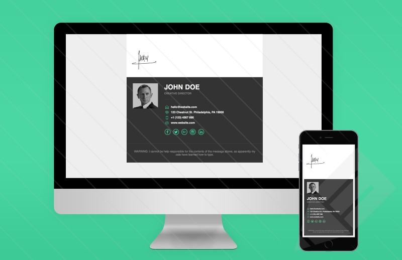 Free template responsive email signature for Free email signature template