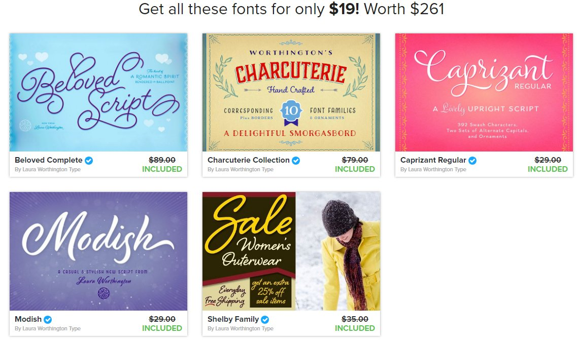 The Laura Worthington Collection Volume II is packed with 18 gorgeous fonts from 5 different font families for just over $1 each!