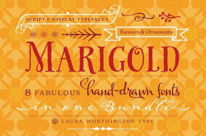 Marigold Bundle 8 Fonts by Laura Worthington $37