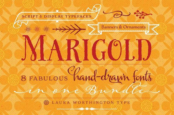Marigold Bundle 8 Fonts by Laura Worthington $37