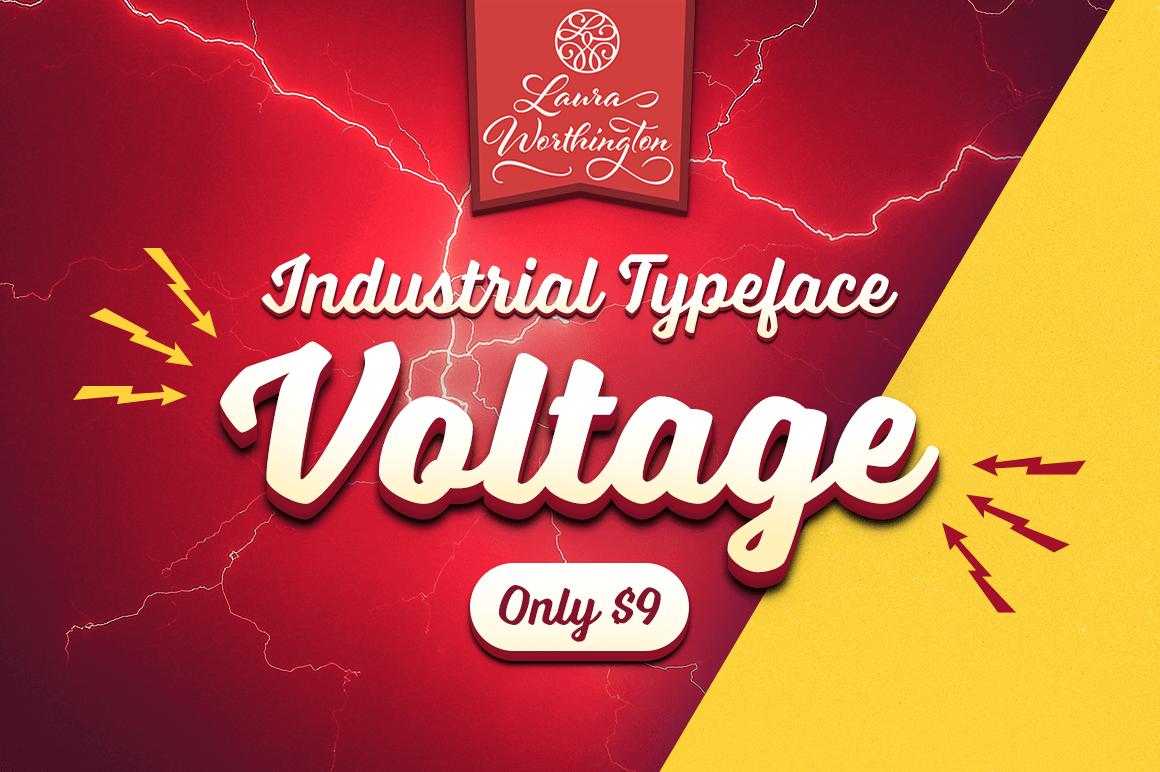 Industrial Typeface Voltage by Laura Worthington - $9 (Desktop) or $15 (Desktop +Web)
