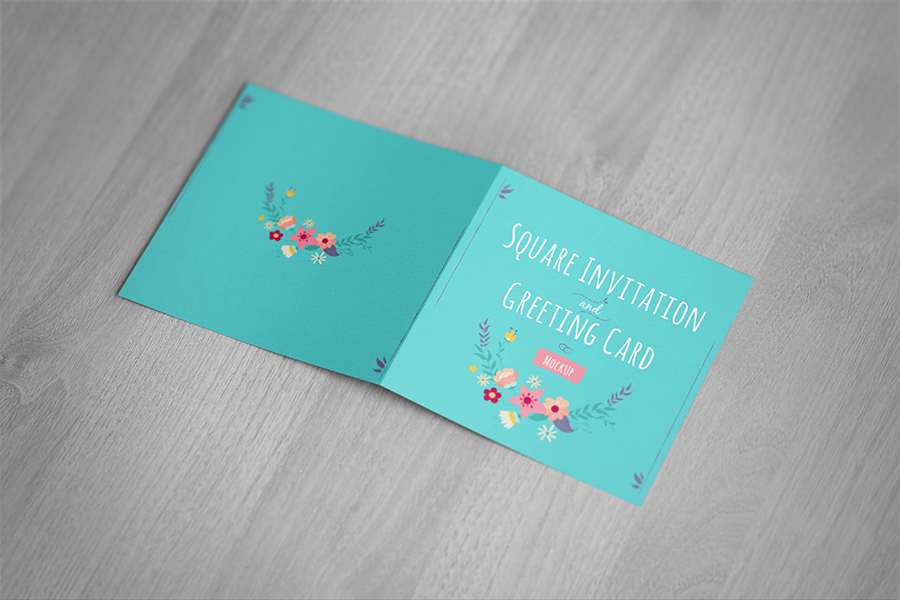 Free Mockup | Square Folded Card |