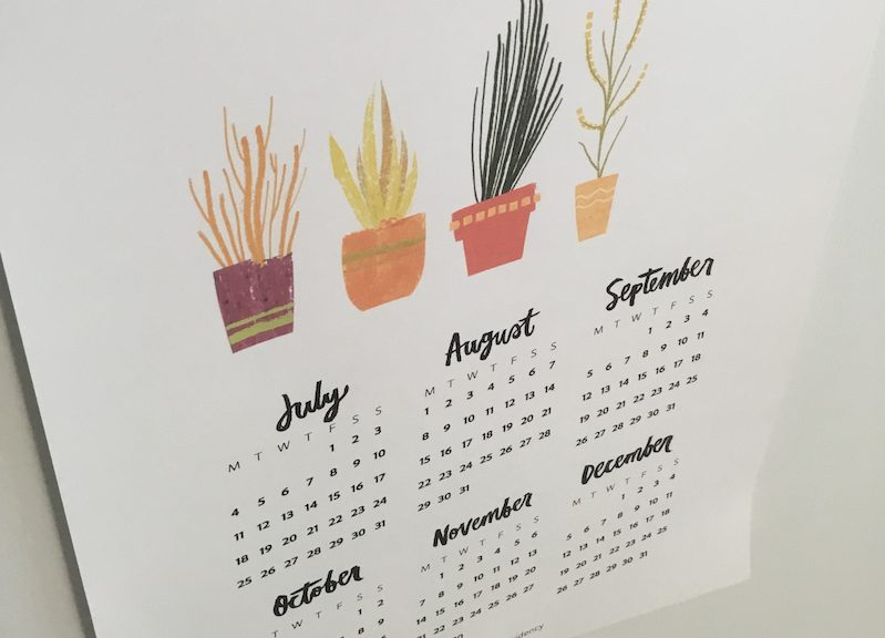Syd Weiler–inspired creation - six-month calendar
