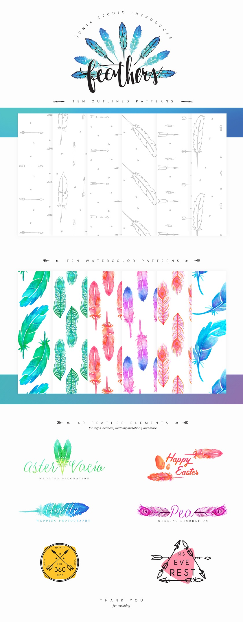 60 Free Watercolor Feather Elements and Patterns
