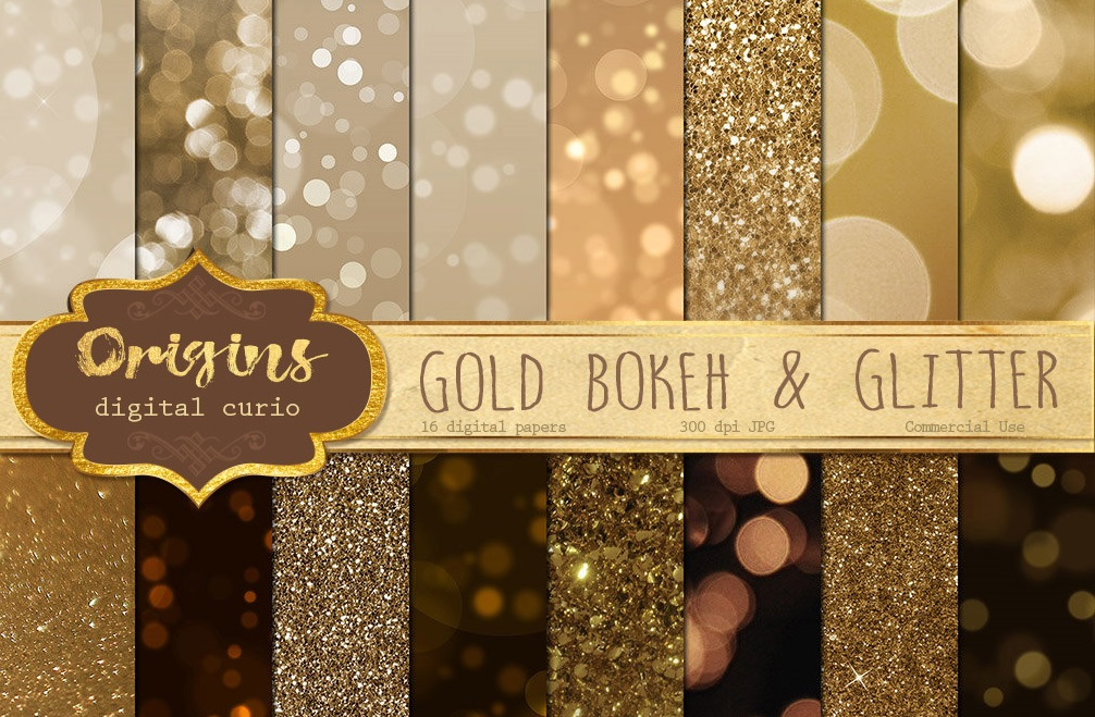 16 Gold Bokeh and Glitter Backgrounds $5