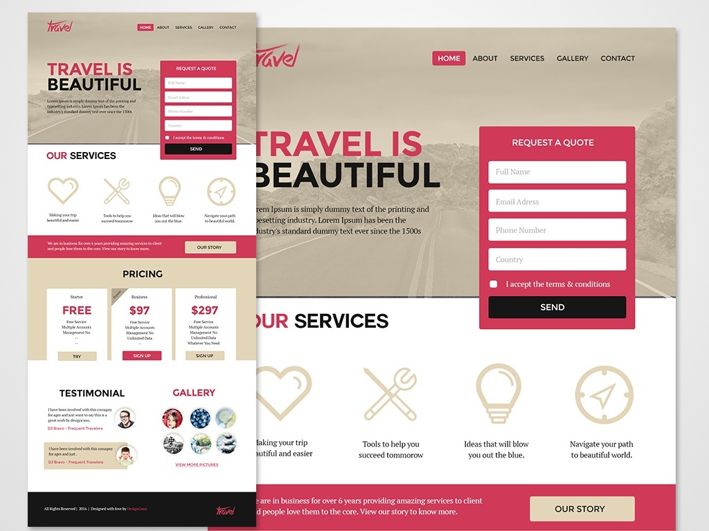 Free Web Landing Pages PSD Template - Website landing page templates