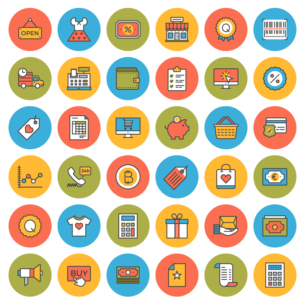 Free Icons 38 Flat Line Ecommerce Icons