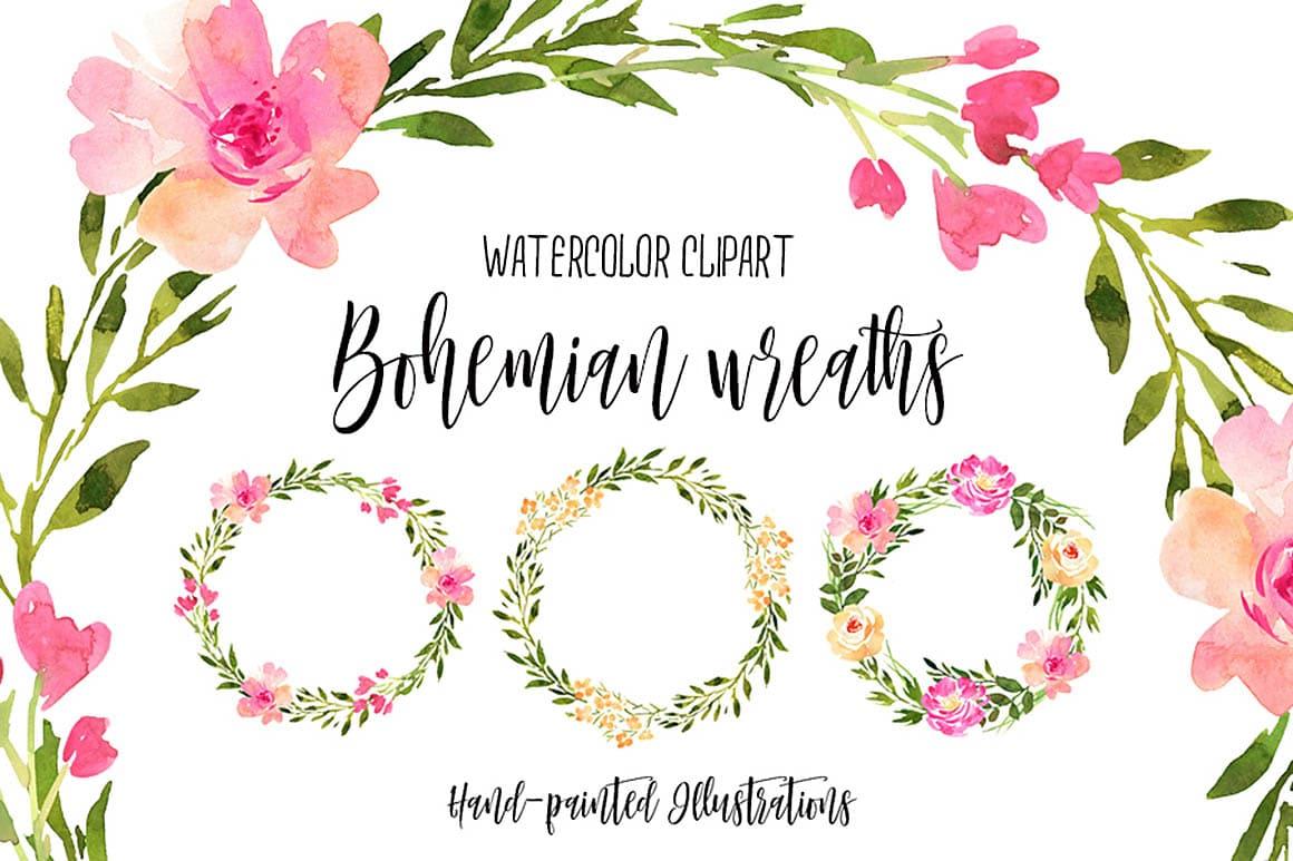 free clipart  u2022 watercolor bohemian wreaths