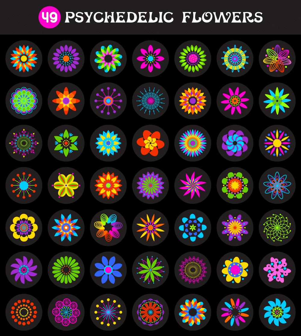 free vectors  u2022 49 psychedelic flowers