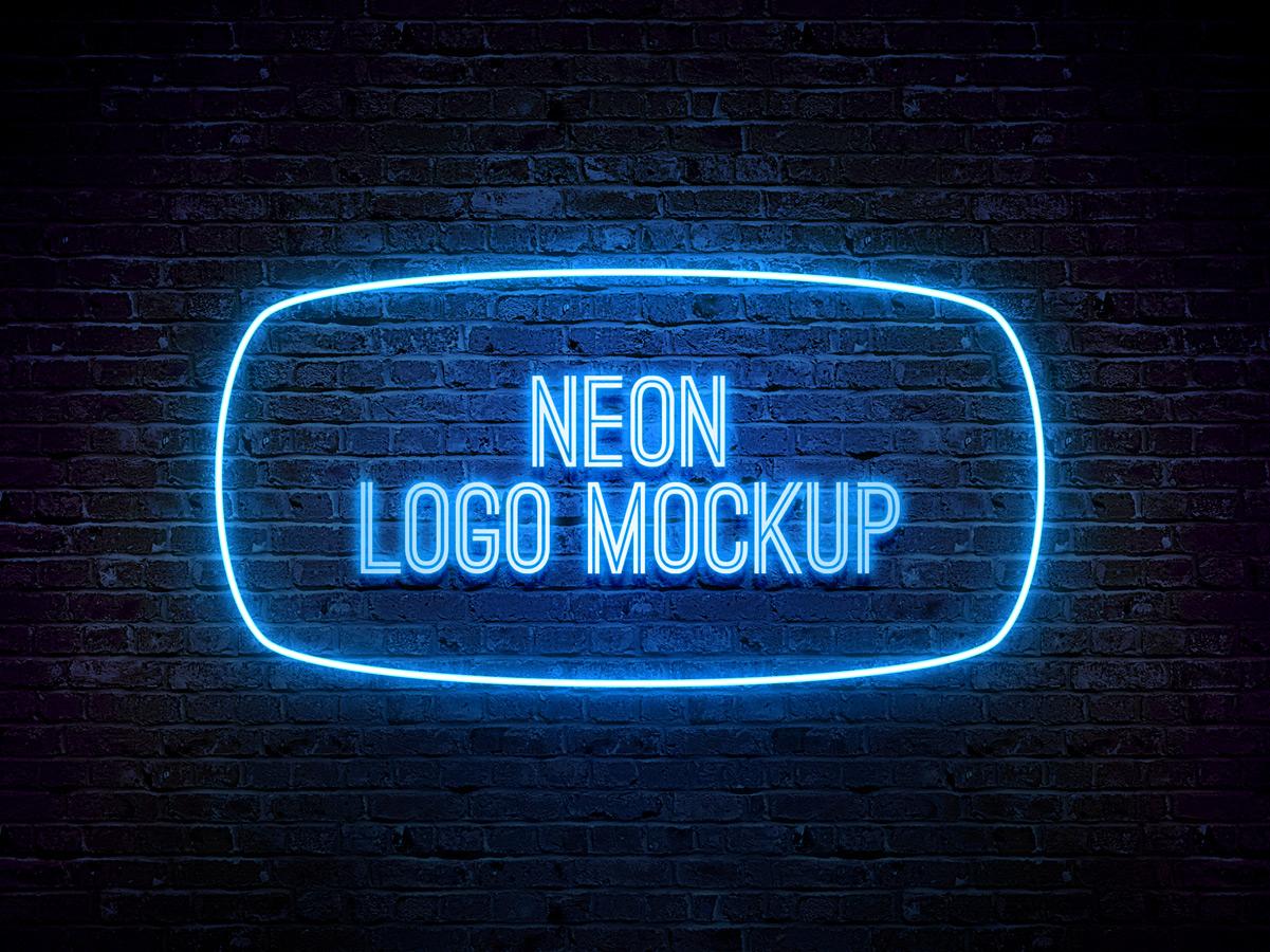 free mockup  u2022 neon logo template