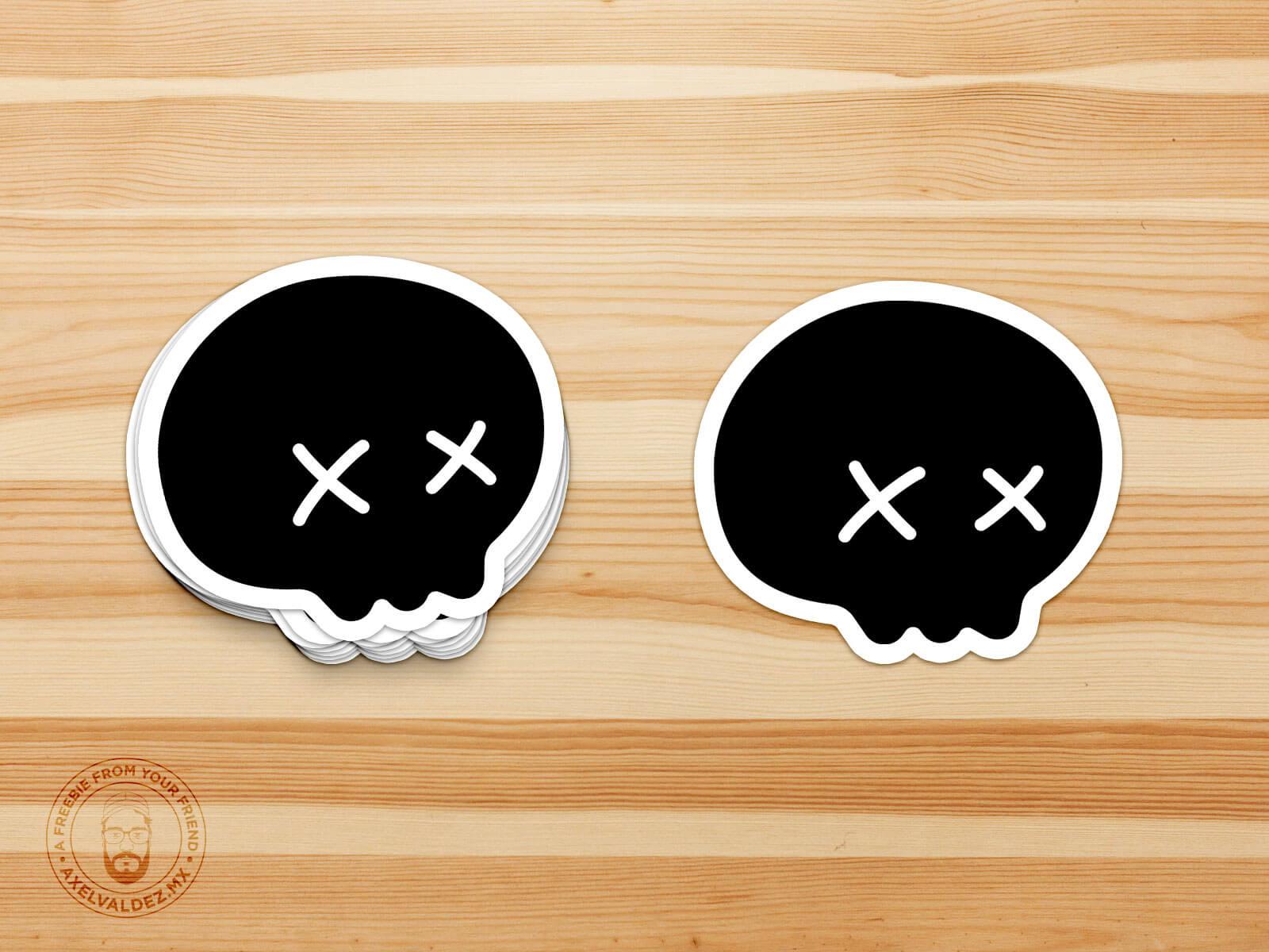 Free Die-Cut Stickers Mockup skull version