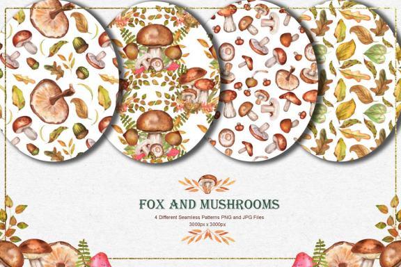 Fox and Mushrooms Watercolor Set