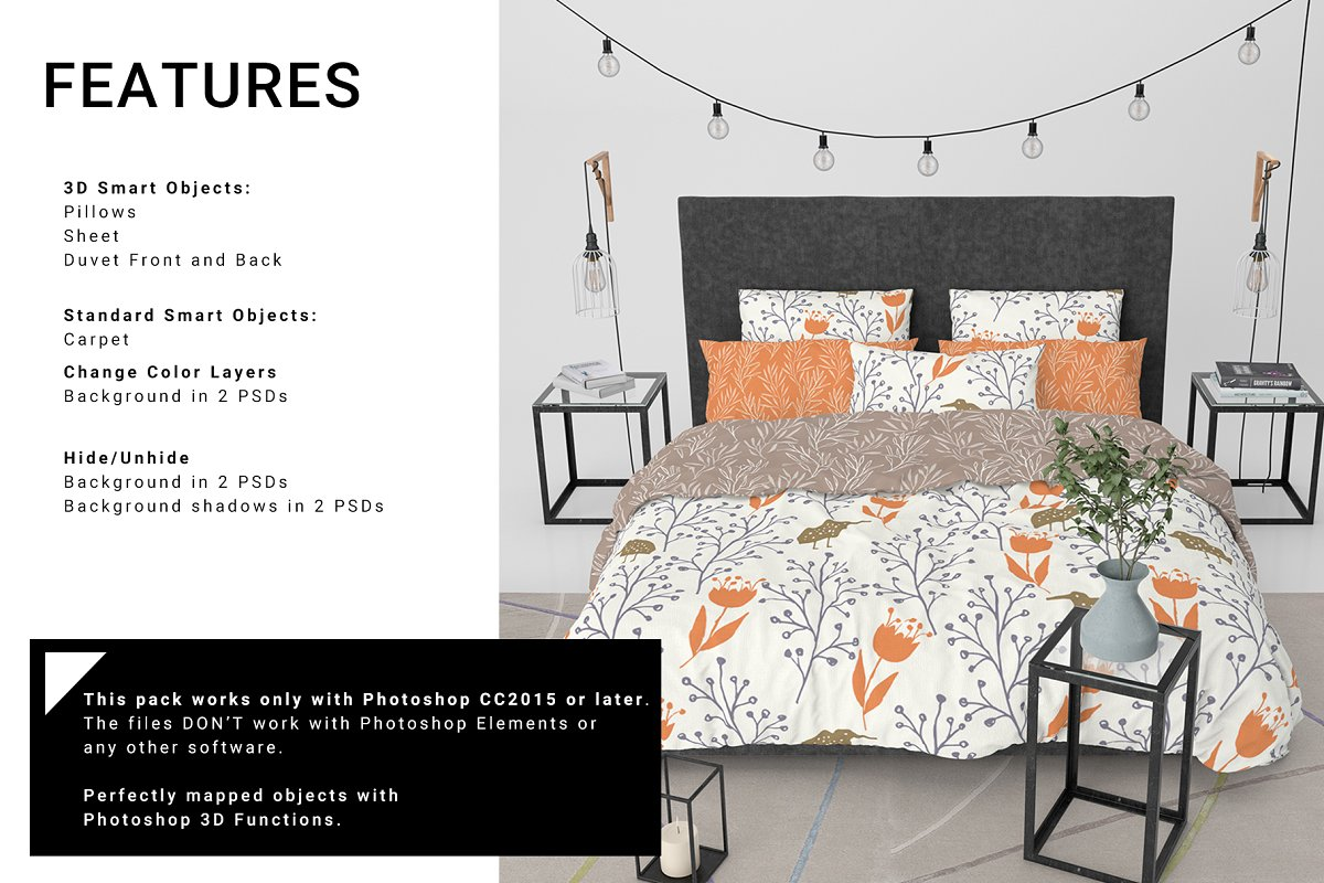 Bedding Set Free Mockup - commercial use freebies