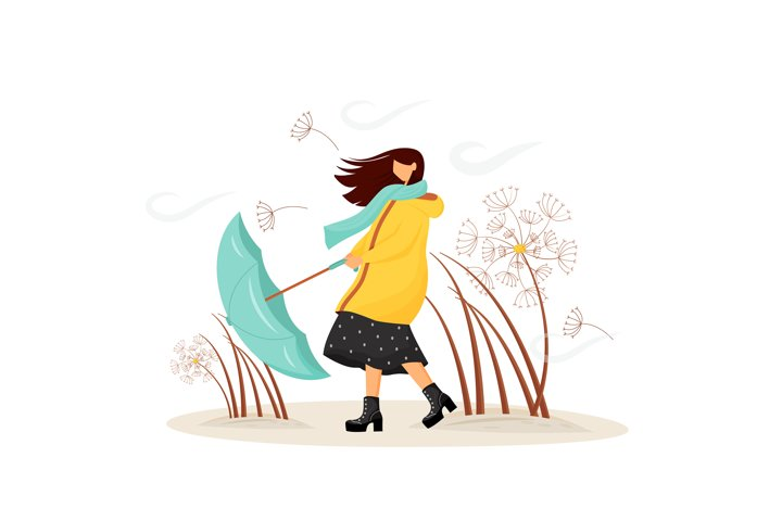 Windy weather flat concept vector illustration example