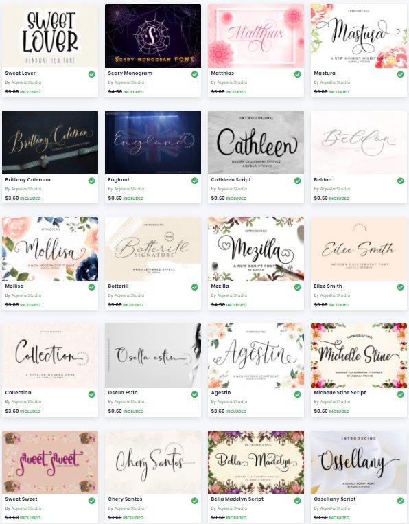 Free Font Bundle - 16 premium script fonts   Commercial use ok Graphic Freebies